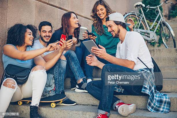 Young people with communication devices