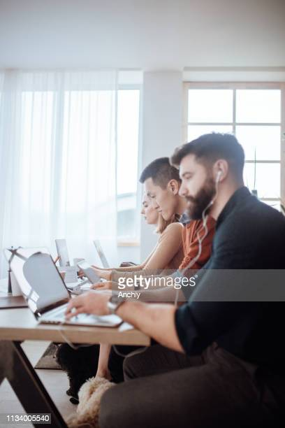 Young people work in modern office