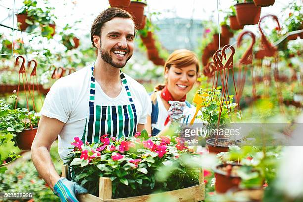 Young People Working At Plant Nursery