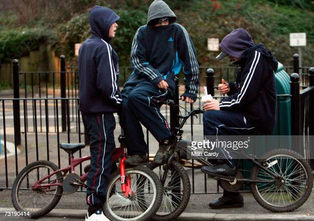 Young persons in hooded tops gather on a housing estate east of Bristol city centre on February 2 Bristol England Bristol City Council is one of 40...