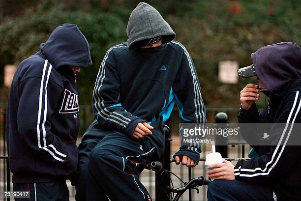 Young persons in hooded tops gather on a housing estate east of Bristol city centre February 2 Bristol England Bristol City Council is one of 40...