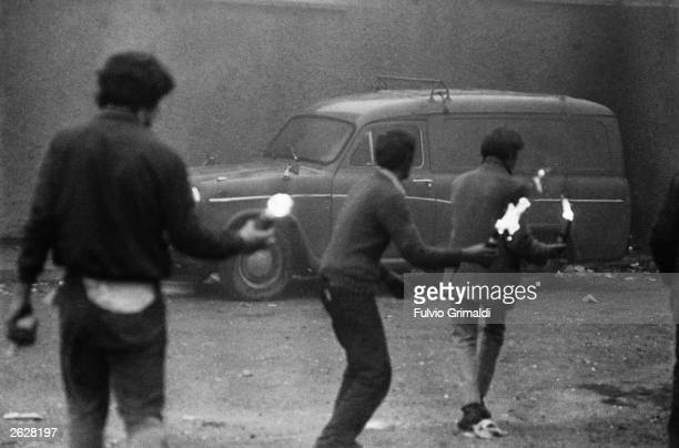 Young petrol bombers on the streets of Derry, Northern Ireland, during The Troubles, October 1971.