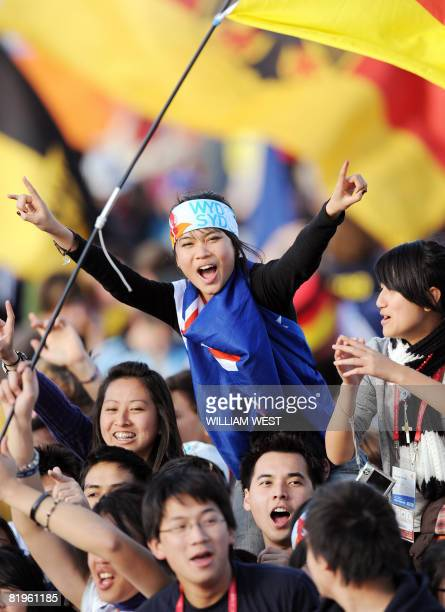 Young pilgrims celebrate as they see Pope Benedict XVI arrive at the World Youth Day festivities in Sydney on July 17 2008 The world's biggest...