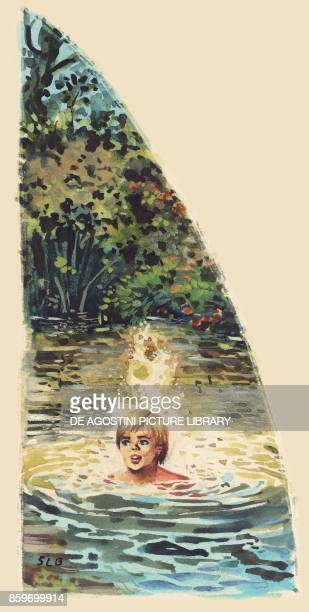 A young pioneer bathing in a pond West North America drawing