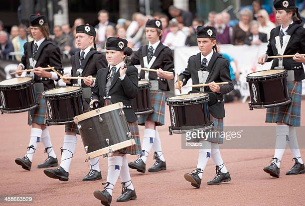 young pipe band drummers - theasis stock pictures, royalty-free photos & images