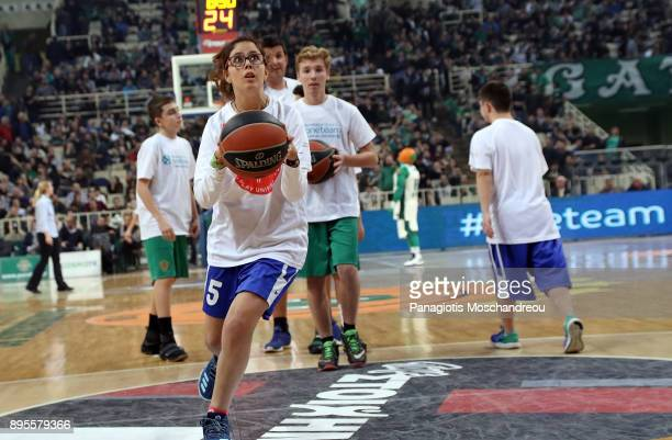 Young players of Panathinaikos BC Academy and Special Olympics athletes participate in a demonstration match during a One Team action that takes...