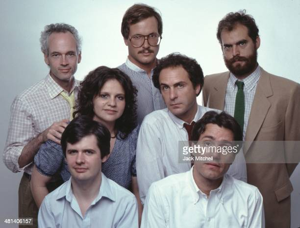 Young playwrights of 1981 Jonathan Reynolds Christopher Durang James Lapine Ted Tally Wendy Wasserstein William Finn and Albert Inaurato photographed...