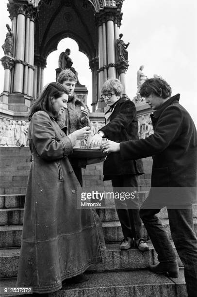 Young pop stars gathered at the Albert Memorial in London for a bread and water lunch to draw attention to Oxfam's Christmas appeal Pictured Sue...