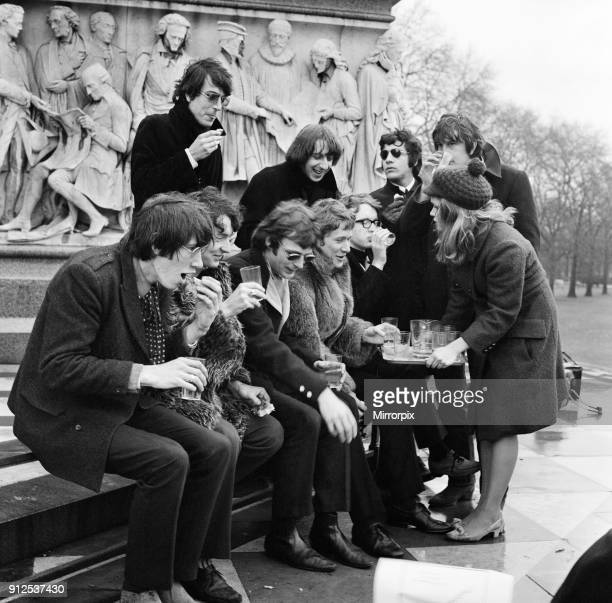 Young pop stars gathered at the Albert Memorial in London for a bread and water lunch to draw attention to Oxfams Christmas appeal Pictured Elaine...