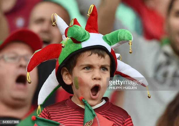A young Portugal supporter cheers before the round of sixteen football match Croatia against Portugal of the Euro 2016 football tournament on June 25...