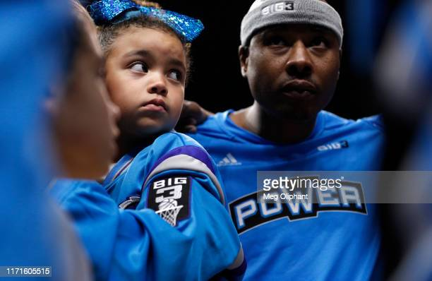 Young Power fan listens in the pre-game huddle before the start of the BIG3 Championship at Staples Center on September 01, 2019 in Los Angeles,...