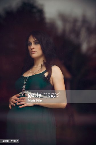 Young Pregnant Woman Resting Hands On Stomach High-Res ...