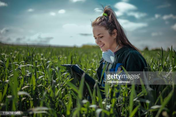young pretty farmer girl standing in green wheat field - agronomist stock pictures, royalty-free photos & images