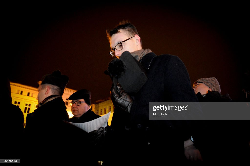A young priest is seen at a rosary for the renewal of the moral of the Polish moral in Bydgoszcz, Poland on January 13, 2018. This week parliament voted for a proposal further restricting already very strict abortion laws.