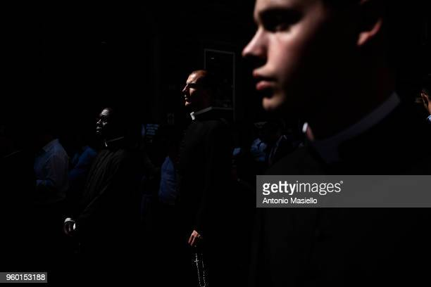 Young priests take part at the national demonstration for life and against abortion on May 19 2018 in Rome Italy