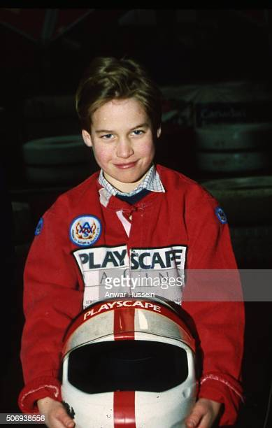 A young Prince William goes karting at Buckmore Park 'Playscape' on August 01 1992 in Chatham England