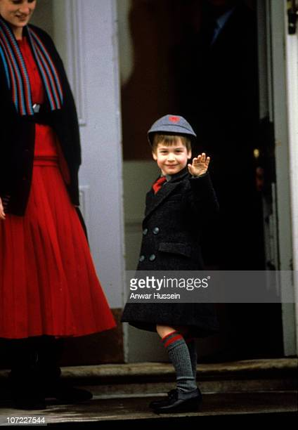 Young Prince William on his first day at Wetherby School on January 15, 1987 in London, England.