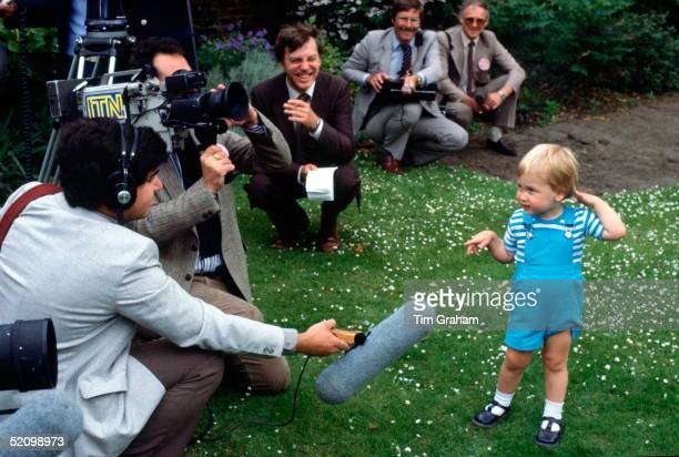 Young Prince William With Members Of The Press In The Garden At Kensington Palace For His 2nd Birthday
