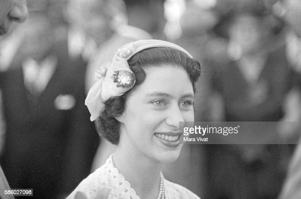 A young Princess Margaret of the United Kingdom wears a spring bonnet