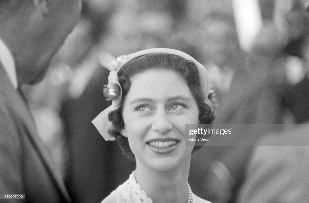 A Young Princess Margaret Of The United Kingdom Wears Spring Bonnet