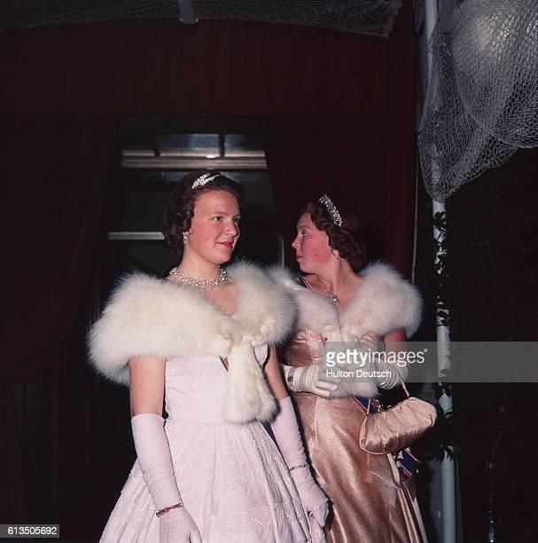 Young princesses dressed in evening wear