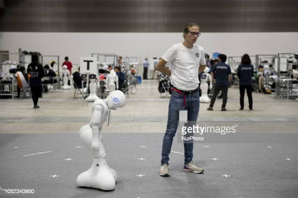 Young programmer tests Pepper for School Robot Challenge Learn with Pepper Projecy is about programming Pepper to help those student at the school...