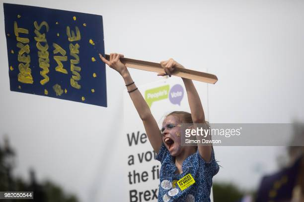 A young protestor shouts as she takes part in the People's Vote demonstration against Brexit on June 23 2018 in London England On the second...