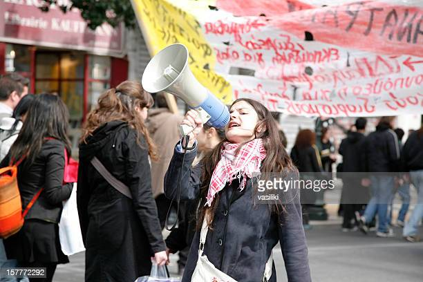 Young protestor with megaphone
