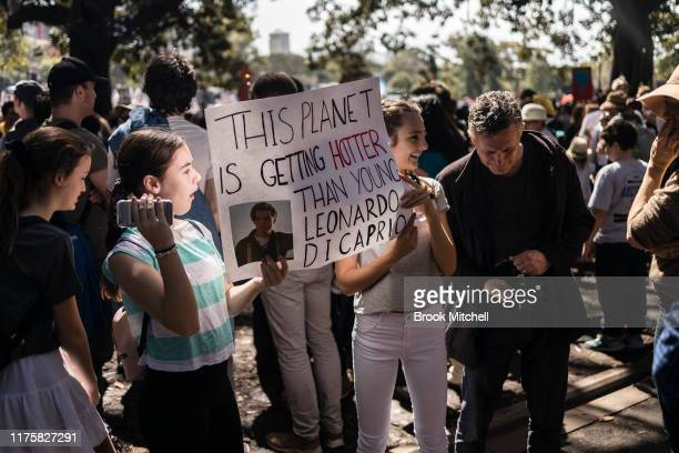 Young protestors are pictured in the Domain on September 20, 2019 in Sydney, Australia. Rallies held across Australia are part of a global mass day...