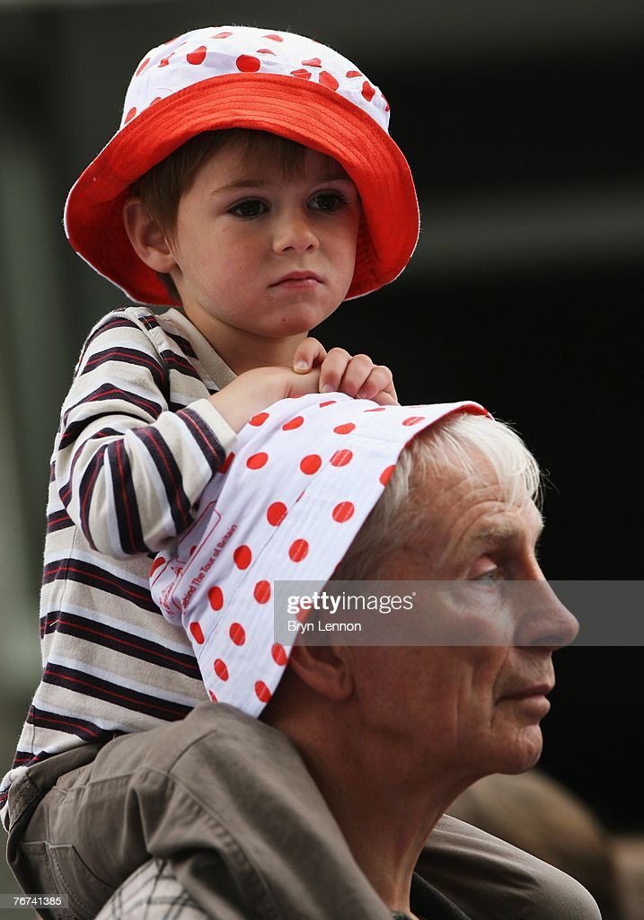 A young race fan watches the action on Stage Five of the Tour of Britain from Liverpool to Kendal on September 14, 2007 in Kendal, England.