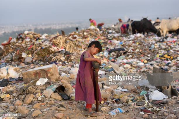 A young rag picker collects usable items from a pile of waste at Bhalswa Landfill site on March 27 2019 in New Delhi India