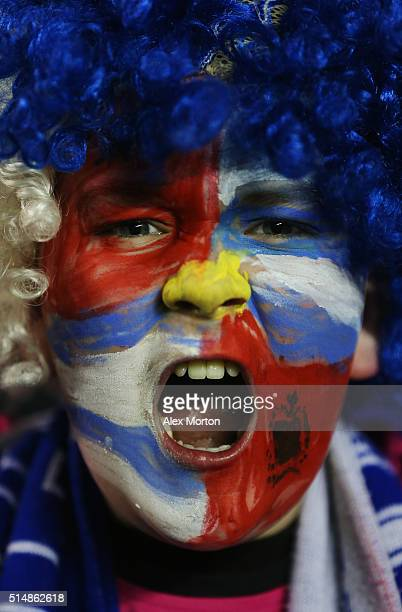A young Readign fan enjoys the atmosphere prior to the Emirates FA Cup sixth round match between Reading and Crystal Palace at Madejski Stadium on...