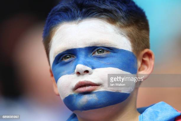 A young Reading fan looks on prior to the Sky Bet Championship play off final between Huddersfield and Reading at Wembley Stadium on May 29 2017 in...