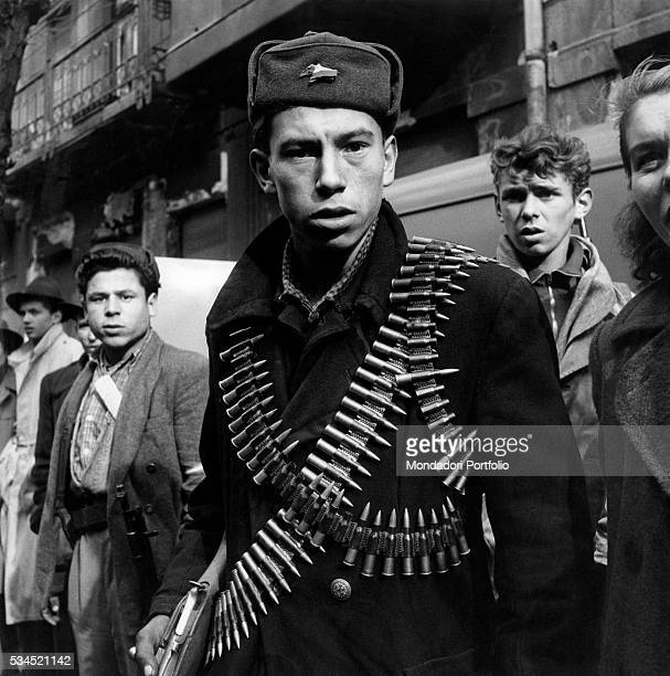A young rebel with two cartridge belts loaded with bullets taking part in the Hungarian Revolution of 1956 Budapest November 1956