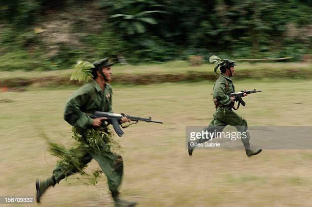 Young recruits of the Kachin Independent Army during a training exercise OCTOBER 23 2010 The Kachin State a region of Myanmar bordering China and...