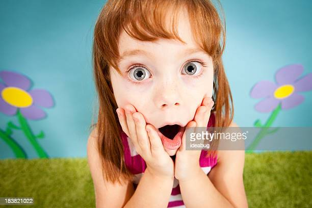 Young Red-Haired Girl Gasping with Surprise in Whimsical World