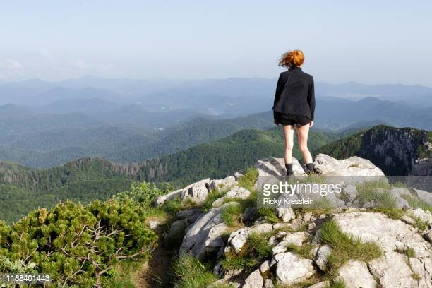 young redhead girl - european alps stock pictures, royalty-free photos & images
