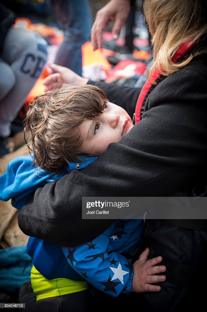 Young refugee arriving in Europe - Lesbos, Greece : Stock Photo