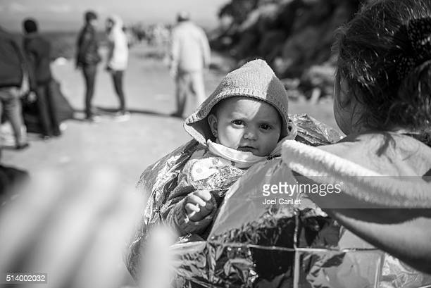 Young refugee from Syria arrives on Lesbos, Greece