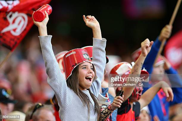 A young Renegades fan shows her support during the Big Bash League match between the Melbourne Renegades and the Melbourne Stars at Etihad Stadium on...