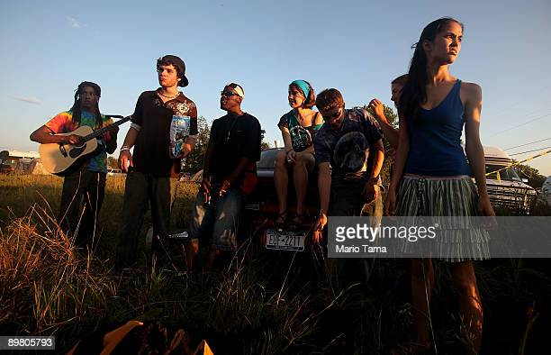 Young revelers gather as the 40th anniversary of the Woodstock music festival approaches August 14 2009 in Bethel New York On August 1517 in 1969 an...