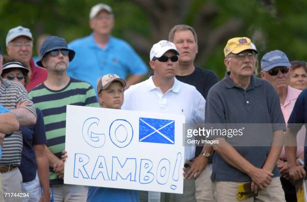 Young Richie Ramsay fan holds up a sign during the finals of the 2006 U.S. Amateur at Hazeltine National Golf Club on August 27, 2006 in Chaska,...