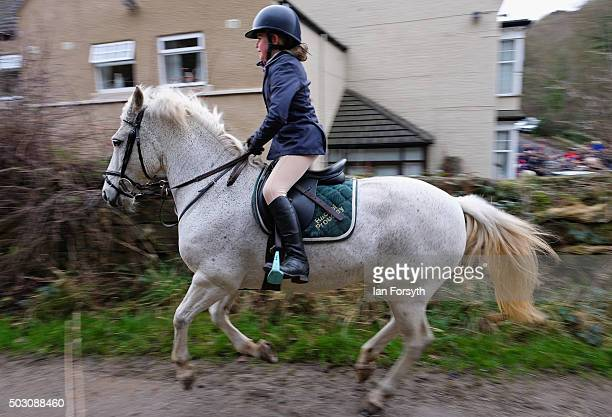 Young rider from the Cleveland Hunt heads out on the traditional New Year's Day hunt on January 1, 2016 in Guisborough, United Kingdom. Established...