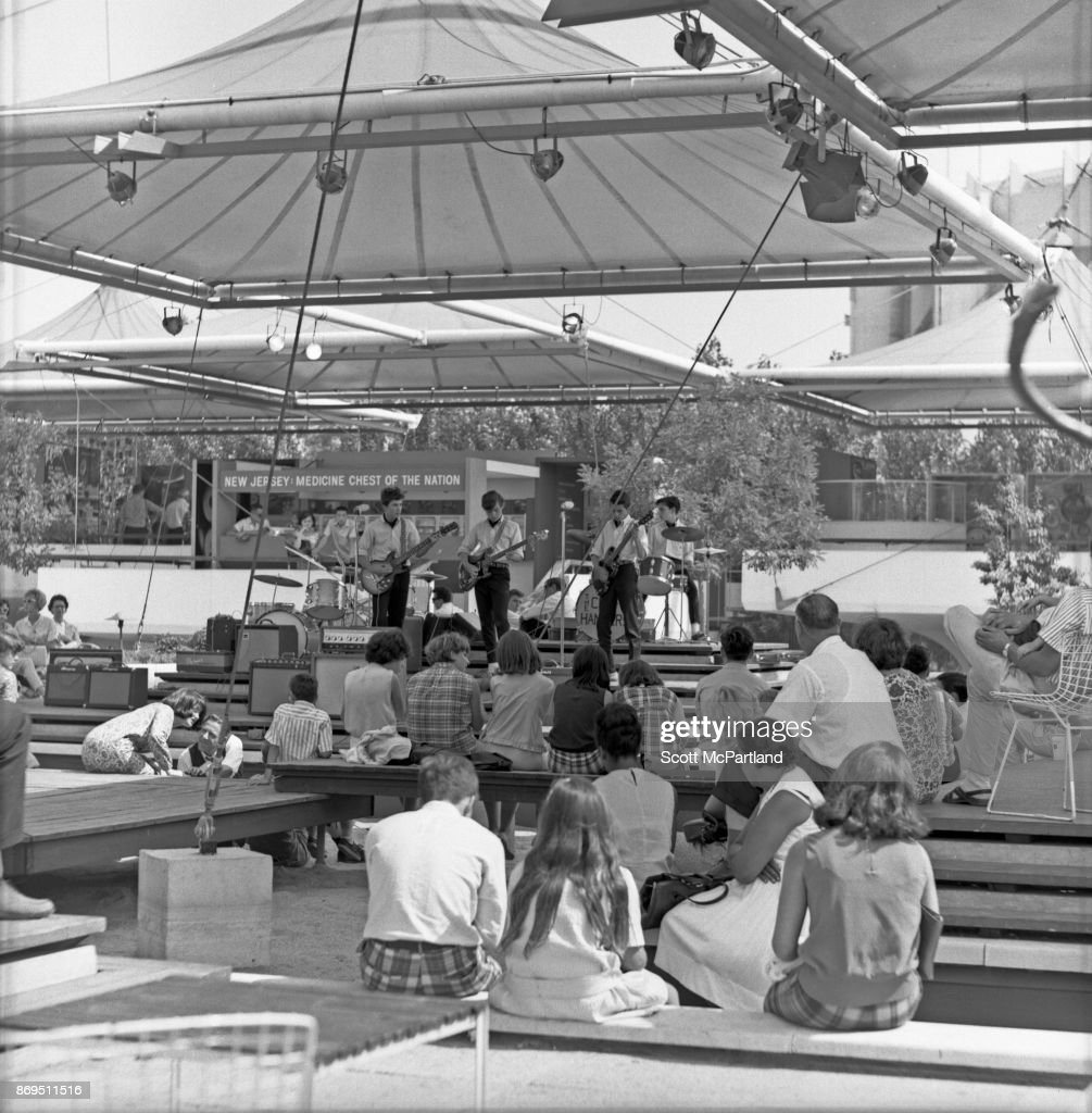 A young rock and roll band performs at the New Jersey Pavilion during the 1964-65 World's Fair in Flushing Meadows Corona Park.