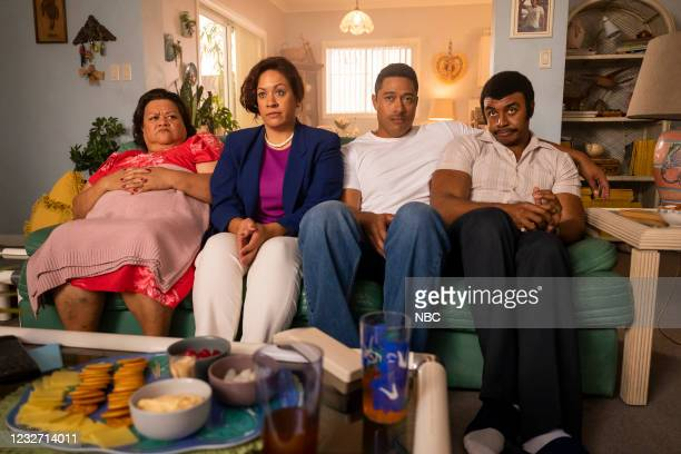 "Young Rock -- ""Election Day"" Episode 111 -- Pictured: Ana Tuisila as Lia, Stacey Leilua as Ata Johnson, Uli Latukefu as Dwayne, Joseph Lee Anderson..."