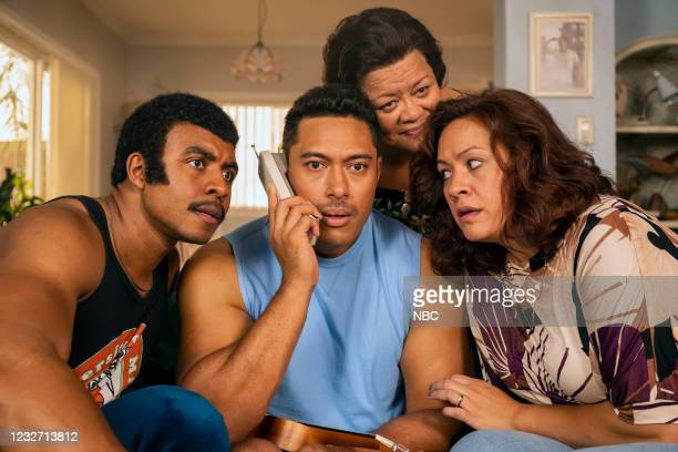 "Young Rock -- ""Election Day"" Episode 111 -- Pictured: Joseph Lee Anderson as Rocky Johnson, Uli Latukefu as Dwayne, Ana Tuisila as Lia, Stacey Leilua..."