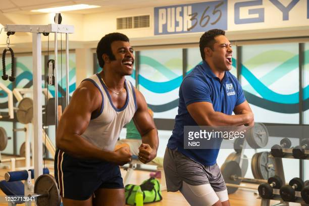 """Young Rock -- """"Election Day"""" Episode 111 -- Pictured: Joseph Lee Anderson as Rocky Johnson, Uli Latukefu as Dwayne --"""