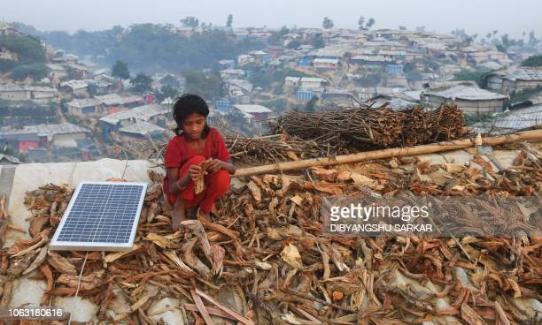 Young Rohingya refugee spreads out fire wood for drying on the roof of a shack, next to a solar panel, at the Hakimpara refugee camp in Bangladesh's...