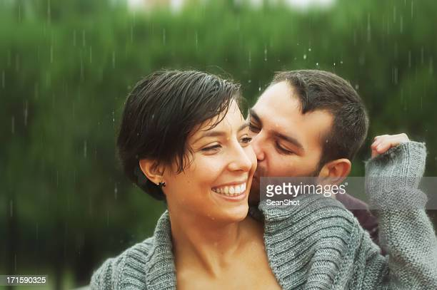 Young Romance Couple Under the Rain