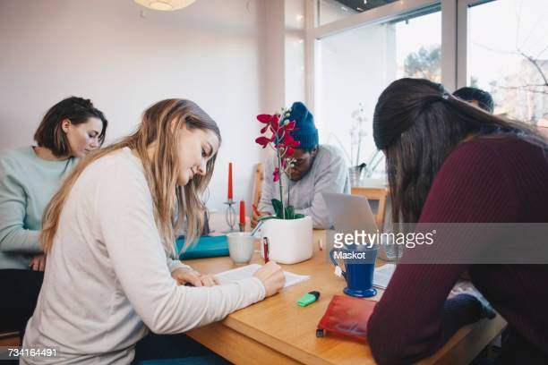 Young roommates studying together in college dorm room